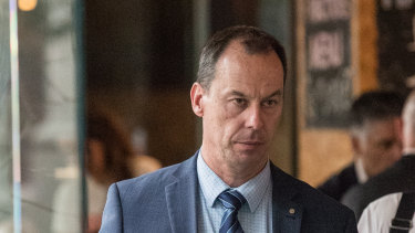 Jeff Pope leaves the royal commission after giving evidence in April.