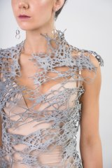 Icelynne Yeo's 3D printed webbed bodice worn by Bianca Schragger, FRM.