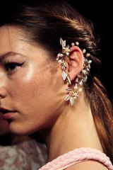 A model wears an ear cuff by Jeanette Maree in the Thurley show at Sydney's Fashion Week.