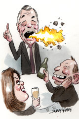 Peta Credlin, Nigel Farage and Tony Abbott dined together at CPAC's gala dinner in Sydney.