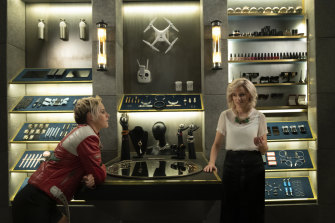 New age weapons: Kristen Stewart, left, as Sabina and Elizabeth Banks as Bosley in Charlie's Angels.