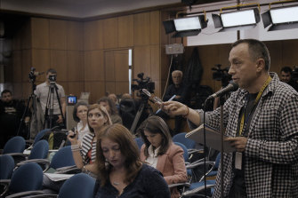 Sports Gazette editor Catalin Tolontan questions the Romanian Health Ministry in a scene from Alexander Nanau's documentary Collective.