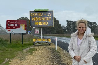 Paula Gust at the Victorian-South Australian border near her family's farm at Apsley.