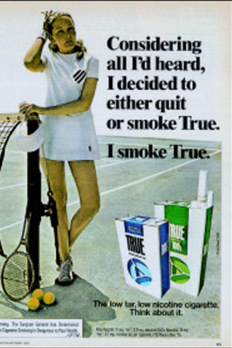 A 1970s magazine advertisement for US brand True cigarettes.
