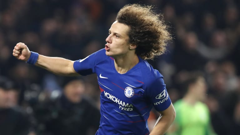 David Luiz after scoring the winning penalty for Chelsea.