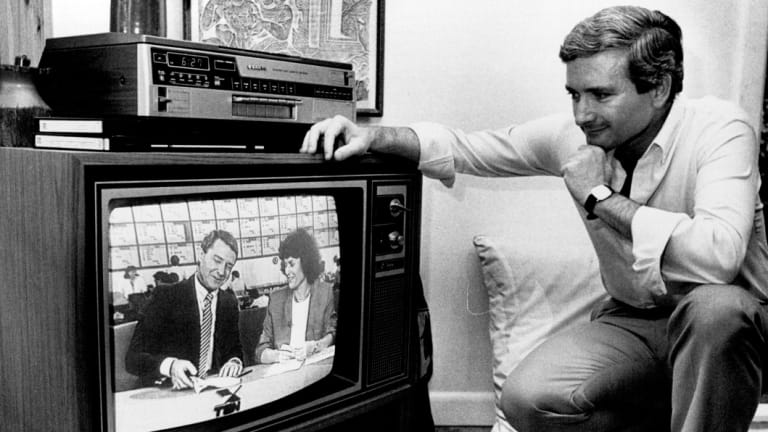 Nick Greiner watching the 1988 election results.
