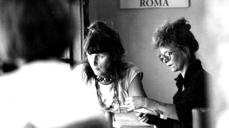 Julie Bates, right, and Roberta Perkins of the Australian Prostitutes Collective, 1986.