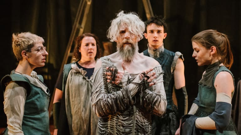 Hamlet's suffering is highlighted by a ticking doomsday clock. Polly Sará, Peta Ward, Chris Beckey, Mitch Wood and Nicole Harvey in Hamlet Apocalypse at Theatreworks.