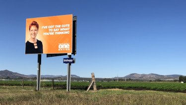 A Pauline Hanson billboard stands next to the road at Grantham in the Lockyer Valley.