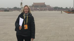 Kirsty Needham in Tiananmen Square as it emptied to become a carpark for delegates and media during the National Congress of the Communist Party.