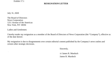 James Murdoch's resignation letter.