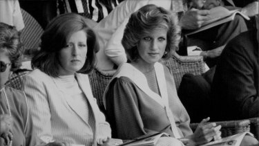 Lady Jane Fellowes pictured with Princess Diana at Wimbledon in 1984. Lady Jane will give a reading at Prince Harry's wedding.