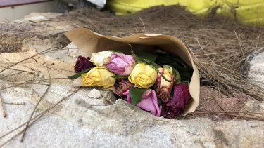 Flowers have been left near to the spot where Cecilia Haddad's body was found.