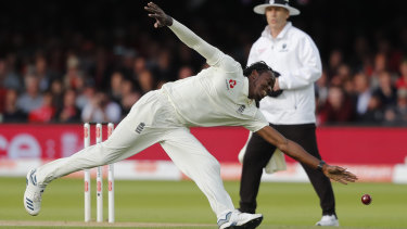 England's Jofra Archer fields the ball during the second day of the second Ashes Test.