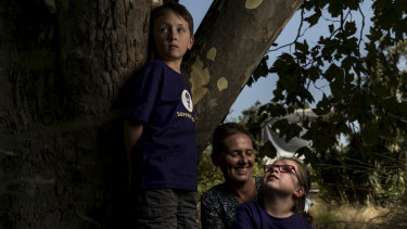 Kellie Pownall with her children Angus and Dylan.