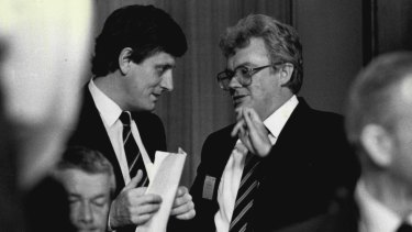 Bob Hawke and Graham Richardson in 1986.