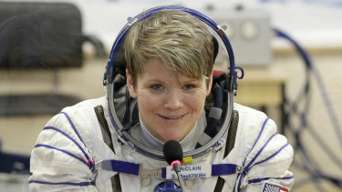 US astronaut Anne McClain before her launch to the ISS in 2018.