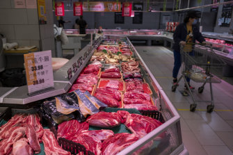 Meat imported from Australia and Brazil  is displayed at Yonghui Superstore in eastern Beijing's Tongzhou District.