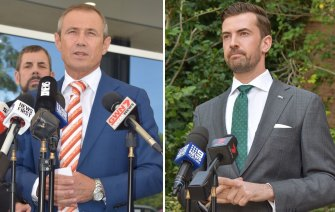 Health Minister Roger Cook and opposition health spokesman Zak Kirkup.