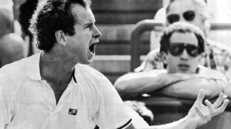 Tirade: John McEnroe vocalising his displeasure at umpire Ings in 1987.