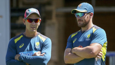 Limited-overs captain Aaron Finch, right, with coach Justin Langer.