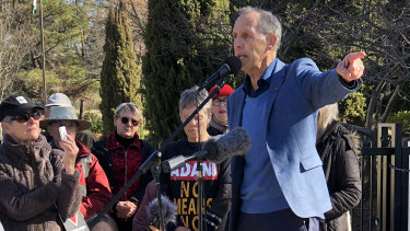 Former Greens leader Bob Brown speaks during a 'Stop Adani' vigil outside the High Commission of India in Canberra on Saturday.