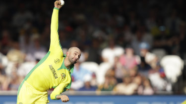 Offspinner Nathan Lyon bowls during Australia's match against New Zealand.