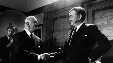 Room at the top - for one. Mr McMahon congratulates Mr Gorton after the ballot yesterday