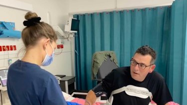 A photo shared by Daniel Andrews last month when he was moved from ICU.