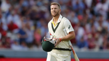 Gone: David Warner departs for three after being bowled by Stuart Broad. The Australian is yet to pass 10 from three innings this series.