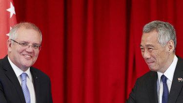 Australian Prime Minister Scott Morrison with Singaporean PM Lee Hsien Loong in 2019.