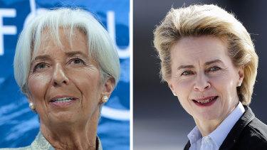 The new EU leaders, from left, Christine Lagarde and Ursula von der Leyen.