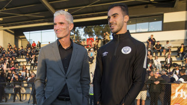 Mission accomplished: Craig Foster and Hakeem al-Araibi soak in the moment at Pascoe Vale's first game of the NPL Victoria season.