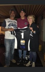 Penrith Panthers rookie Charlie Staines with dad Shayne and mum Lisa. Pic: Supplied