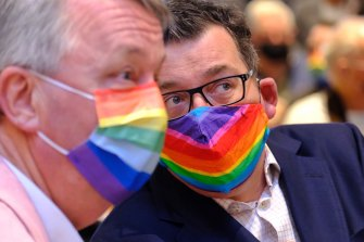 Premier Daniel Andrews with Health Minister Martin Foley on Sunday, at an event held before the announcement was made on borders. Mr Andrews and Mr Foley were opening an Australian-first pride centre.