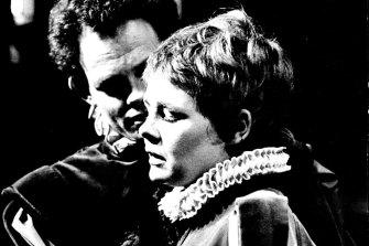 Judi Dench as Viola and Peter Geddis as Fabian in Twelfth Night.