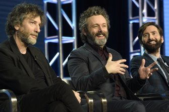 From left: Showrunner Neil Gaiman, Michael Sheen and David Tennant participate in the Amazon Good Omens panel at the Winter Television Critics Association Press Tour earlier this year