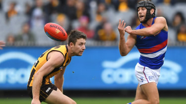 Sidelined: Hawthorn's Liam Shiels in action against Caleb Daniel of the Bulldogs before injuring his hamstring.