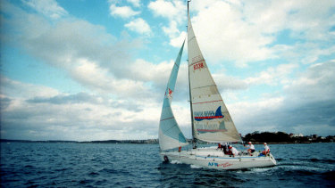 AFR Midnight Rambler sailing on smooth seas. The boat later won the storm-wracked 1998 Sydney to Hobart.
