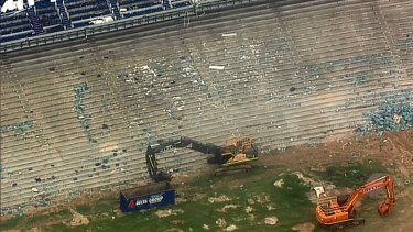 So-called soft demolition works are under way inside the stadium, where thousands of seats have been ripped out.