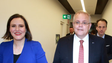 Minister for Jobs and Industrial Relations Kelly O'Dwyer with Prime Minister Scott Morrison.