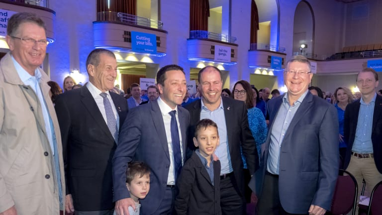Former Liberal Party leaders with federal Treasurer Josh Frydenberg (second from the right).