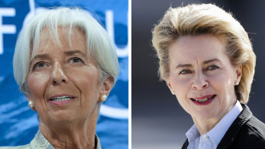 The new EU leaders, from left, Christine Lagarde and Ursula von der Leyen.