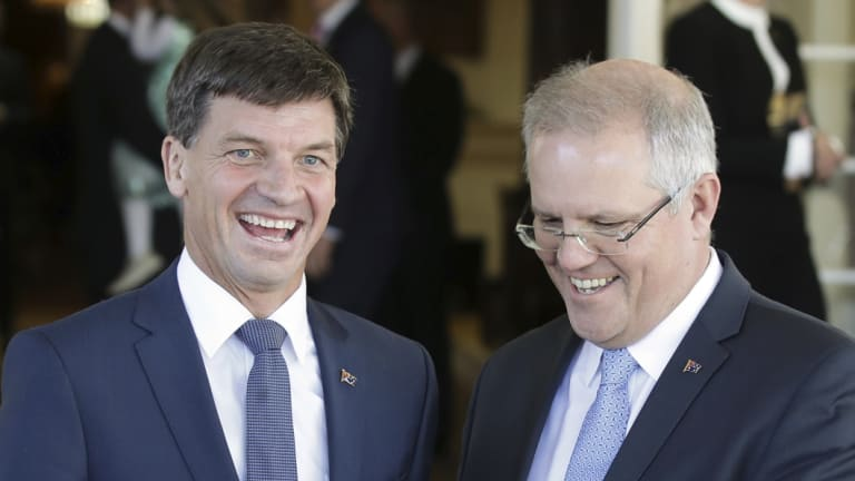 Energy Minister Angus Taylor with Prime Minister Scott Morrison.