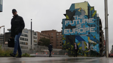 A mural reading 'The Future Is Europe' on Rue de la Loi in Brussels.