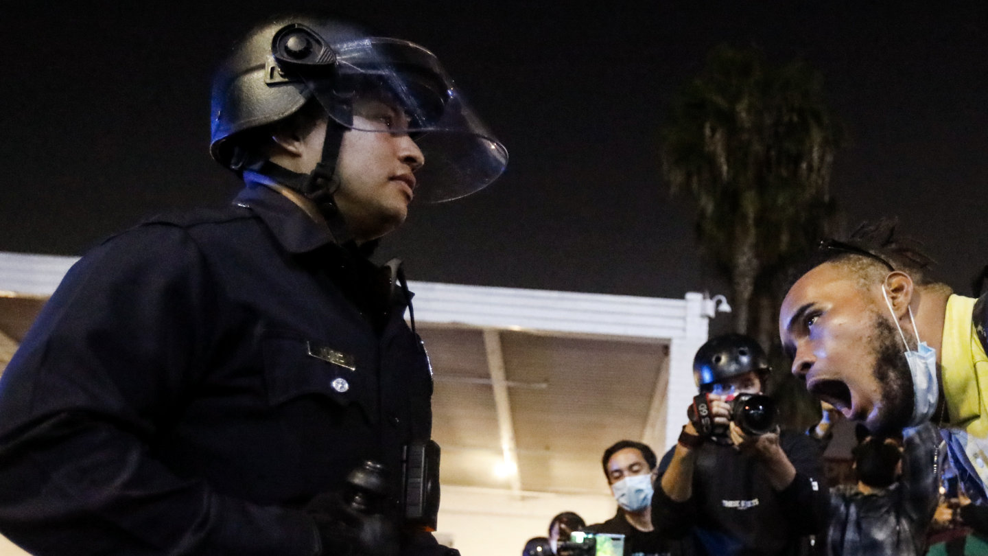 A menacing mood prevailed at the end of election day in Los Angeles as police confronted protesters.
