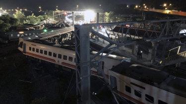 The train derailment in northern Taiwan on Sunday.