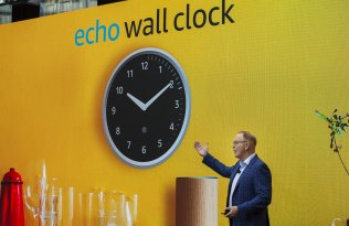 David Limp, senior vice-president of devices and services at Amazon, presents the Amazon Echo wall clock in September.