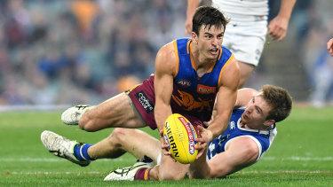 Lion king: Jarryd Lyon led the way for Brisbane against North Melbourne.