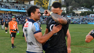 Ken Maumalo sheds a tear after his last match in a Warriors jersey.